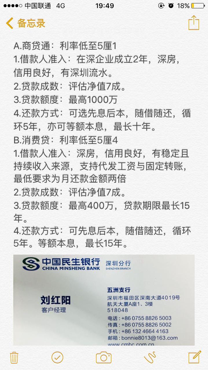 来自刘红阳发布的供应信息:民生银行贷款... - 中国民生银行股份有限公司